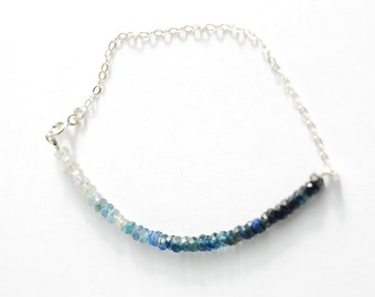 Gradient Sapphire Bracelet. Sterling Silver Bracelet. Blue Sapphire Bracelet. Ombre Bracelet