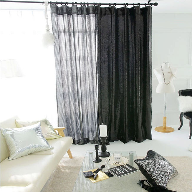 Curtains Ideas black sheer curtain : Glitter Silver Black Sheer Curtain Voile Panel