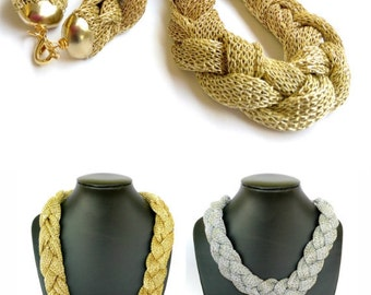 Silver or Gold fabric necklace, statement necklace, fiber necklace, elegant necklace, fabric jewelry, fiber jewelry