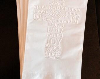 Guest Towel Napkins - Dinner Napkin - Wedding Napkins - Easter - Cross - First Communion Napkins - Beverage Napkin - Church - Christian