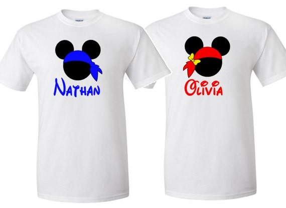Mickey And Minnie Couples Shirts Pirate Mickey and Minn...