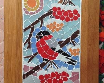 "Mosaic picture ""Bullfinch"" (glass)"