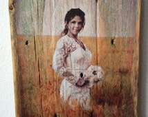 Picture on Wood - Custom Portrait on Reclaimed Wood - Unique Rustic and Distressed Portraits