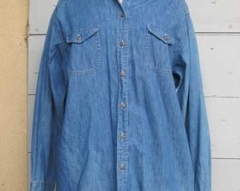 SALE Vintage English Denim Shirt 1990s