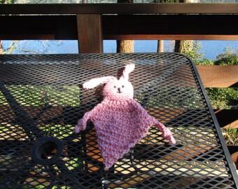 Hand Crochet Bunny Rabbit Blanket, Baby Child Ears Easter, Pink, Small