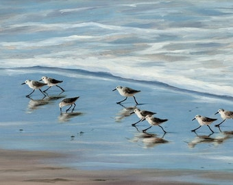 Beach greeting card, sandpipers, birds, coastal, beach art, shabby shic, nautical, from original oil painting by Tina O'Brien