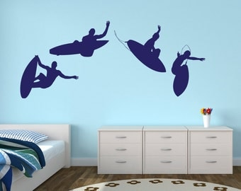 Surfers - Set of 4 - Blue Color Wall Decal