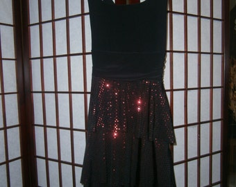 Little Black Dress with shiny red sequined dots
