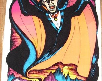 1977 Count Dracula Black light poster