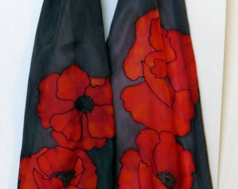 """Designer Scarf. Red Poppies. Original design, hand painted silk. Hand hemmed and hand washable. Made in Canada. 11""""x57"""" (28cm x 145cm)"""
