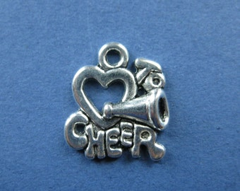 10 Love To Cheer Charm Pendant - I love to Cheer Charm Pendant - Cheer Leading Charm Pendant - Antique Silver - 18mm x 16mm -- (No.73-10356)