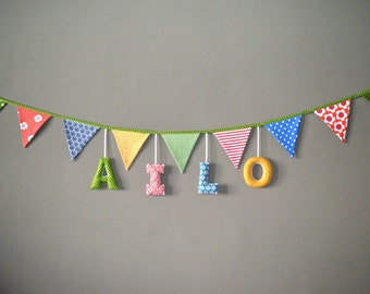 Pennant Garland with name / fabric letters