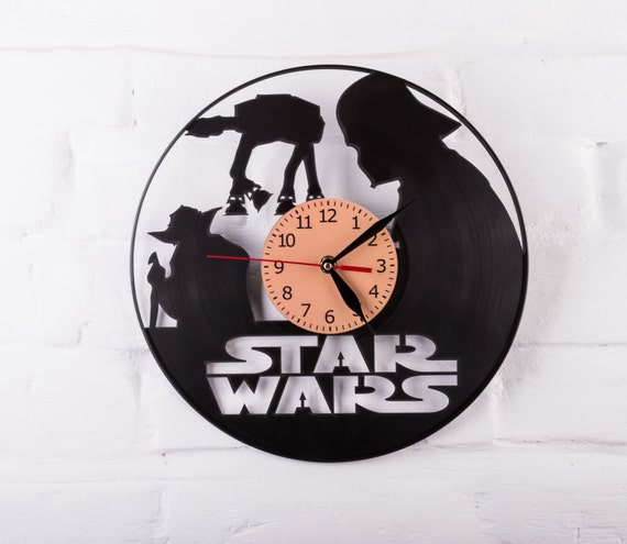 Vinyl Clock Star Wars Darth Vader Yoda Wall Clock Gift