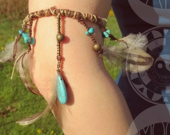 Equilibrium - arm feathers and turquoise magnesites bracelet