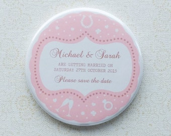 Vintage Confetti Design, save the date magnet, wedding invitation [30 x 58mm magnets]