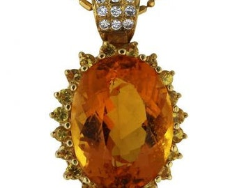 Citrine Necklace Pendant Surrounded By Yellow Sapphires And Diamonds In Gold