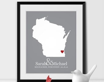 Personalized Bridal Shower Gift, Wedding Gift Print State Map Personalized Wedding Anniversary Gift, WISCONSIN Engagement Gift, Wall Decor