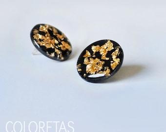 Golden Flakes Black small earrings