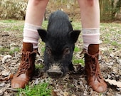 Pink Pig Lacey Legwarmers Boot Cuffs from Upcycled Sweater (Vegan)