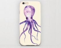 Octopus iPhone 6 Case Beige and Purple iPhone Covers Snap Plastic Hard Cases Apple iPhone 6 Sea Creatures and Critters Protective Phone Case