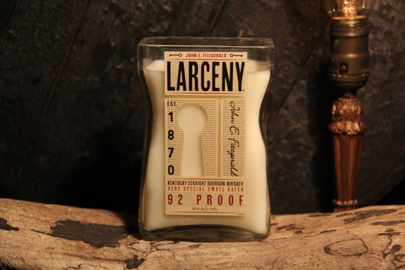 Upcycled Larceny Whiskey Candle Valentine's Gift, Gift For Brother, Guy Gift, Gift For Boyfriend, Present For Grandpa, Gift For Boss