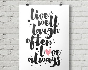 Live Laugh Love - Inspirational Quote Typography Poster Printable