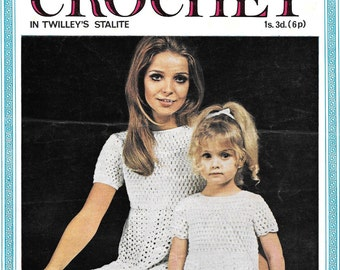 """Vintage Barbara Warners Couture Mother and Daughter Crochet Pattern PDF 22"""" - 36"""" sizes"""