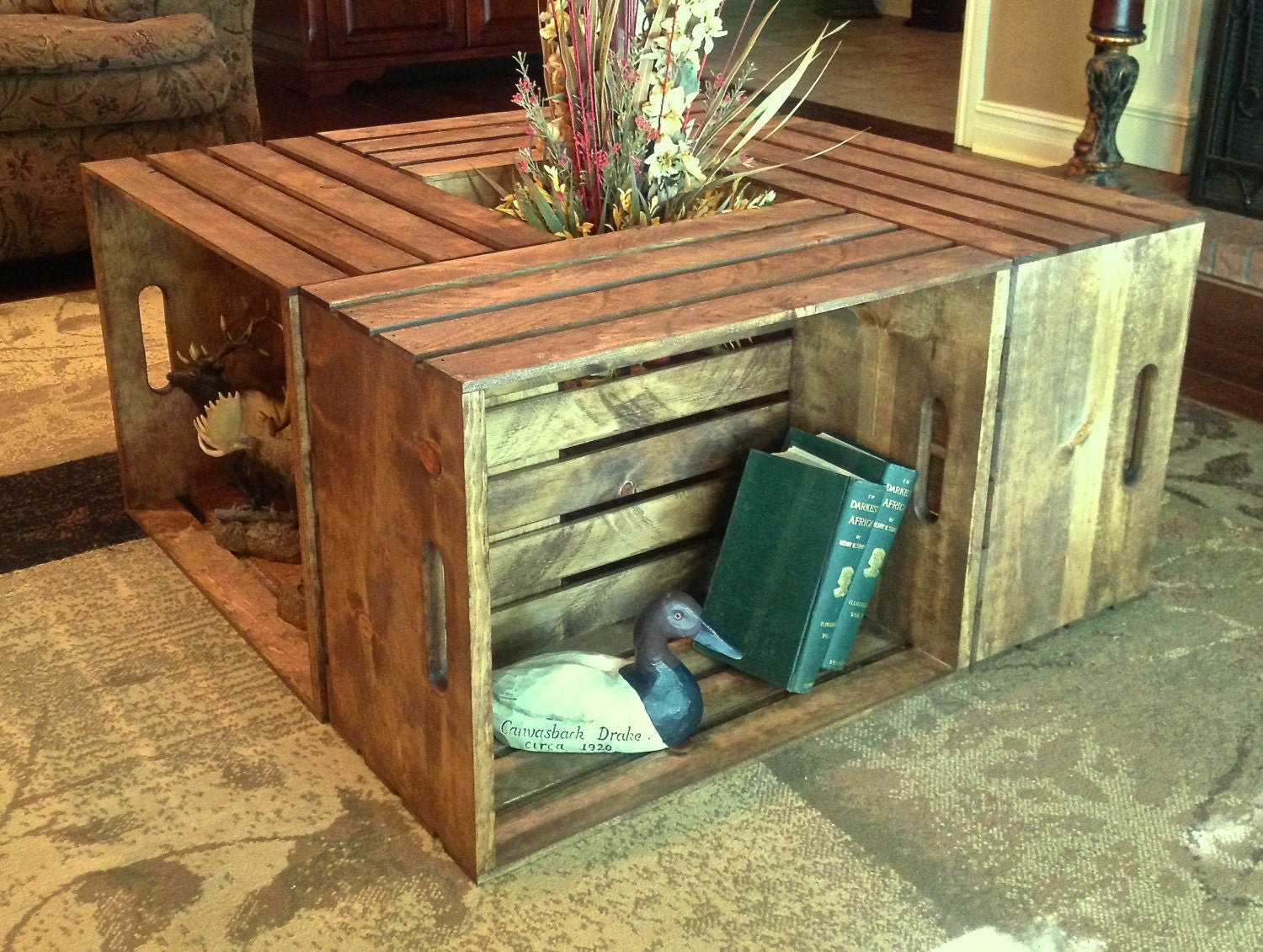 four crate coffee table 35 1/2w x 35 1/2d x
