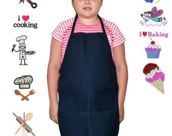 Kids Apron Navy Blue with Embroidery Design