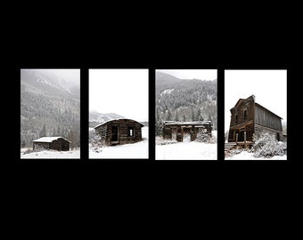 Ghosts of Ashcroft {SET of 4 Photographs - Winter Photography, Shacks, Ghost Town, Aspen Colorado, Fine Art}