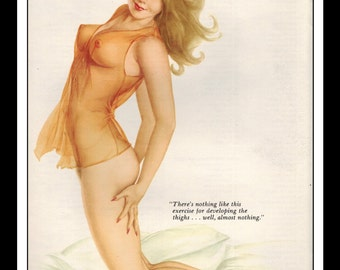 """Vargas Playboy Pinup Girl Vintage October 1974 """"Thigh Exercise"""" Sexy Brunette Nude Red Negligee Mature Wall Art Deco Print"""