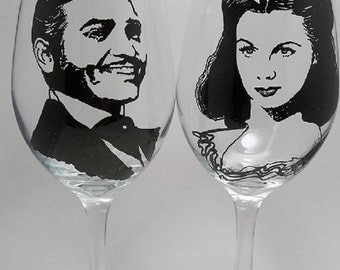 Gone With The Wind, Scarlett and Rhett, Hand painted glasses, Painted wine glasses