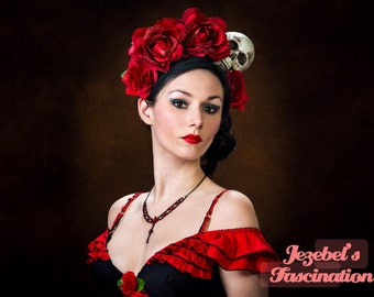 Flower Crown Day of the Dead Halo Dia de los Muertos Red Voodoo Rose Skull Headdress Queen Costume Fascinator Headpiece Frida Headband
