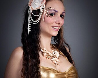 Under the Sea Mermaid Calypso Siren Burlesque Costume Shell Pearl Gold Glitter Seaweed Bridal Fascinator Headpiece Nautical Hat Headdress
