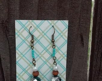 Elegant Beaded Turquois Blue, Brown and White Earrings