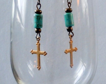 Vintage brass cross and turquoise dangle earrings, one of a kind drop earrings, Christian jewelry, cross jewelry