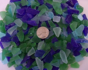 Seaglass, 1 pound, blues and greens