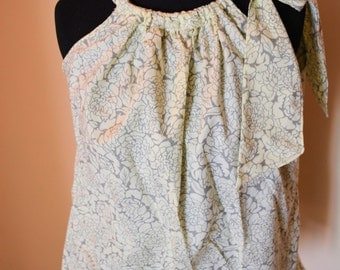 BOHO with a Bow- Gray and Ivory Floral Top- Small-Medium