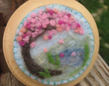 CLEARANCE Cherry Blossom Pond Wool Painting, Needle felted flower painting for nursery or kids room