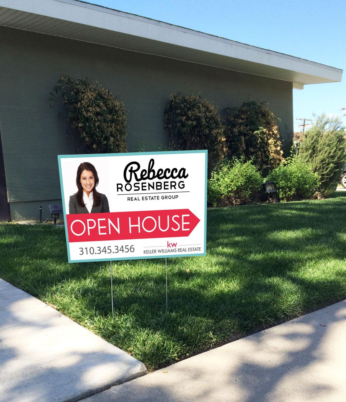 Realtor open house yard sign modern design by for Modern realtors real estate