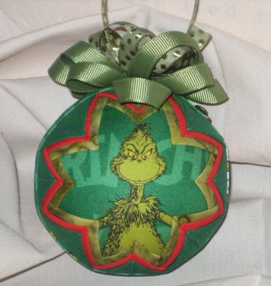 GRINCH CHRISTMAS ORNAMENT Made From Grinch Fabric Red And