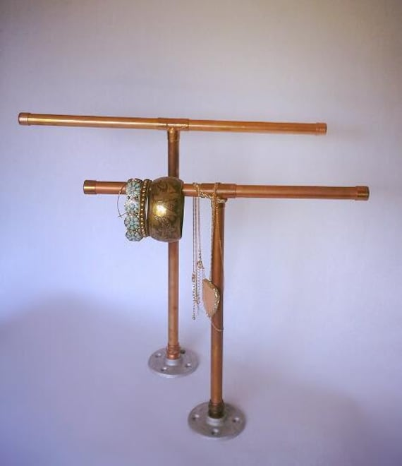 Items similar to industrial copper pipe jewelry stand on etsy for Copper pipe jewelry stand