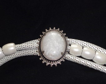 White Jeweled Leather Coil Belt