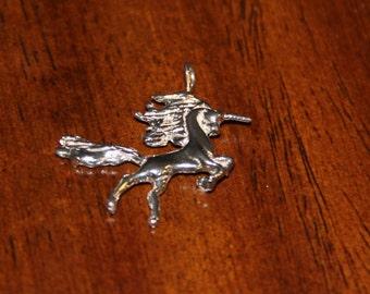 Sterling Silver Unicorn Charm Running Mystical 3D Vintage 1980's Unicorn Pendant
