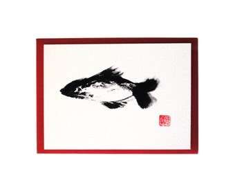 Chan Ink Painting 'Just a Fish' Art Card