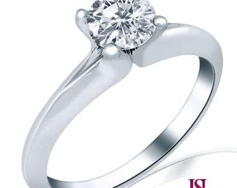 Round Cut Diamond Engagement Ring, 0.55 Carat Solitaire Round Diamond Ring, Engagement Ring, Classic Round Cut Diamond Ring, 14k White Gold