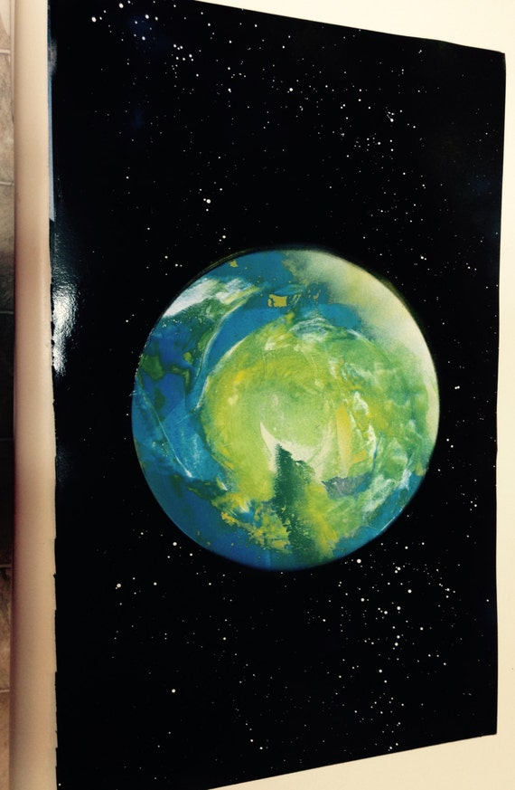 bluegreen planet space painting cool decoration by
