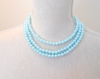 Long glass pearl necklace, pale blue pearl, etsy jewelry shop store, Gift under 20 30, modern fashion, for birthday, mom, mother day