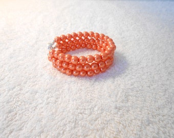 Multi strand glass beads, chunky bracelet, orange wedding jewelry accessories, bridal party, modern classic, bridesmaid gift, for her