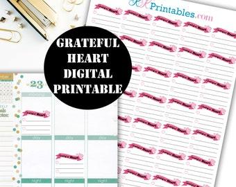 Grateful Heart Printable Planner Stickers // Erin Condren Printable / Plum Paper Planner / Planner Insert Instant Digital Download 00022